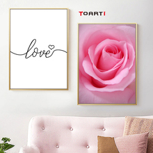 minimalism letter love quote wall art poster and print nordic pink flower heart canvas painting picture bed room home decor