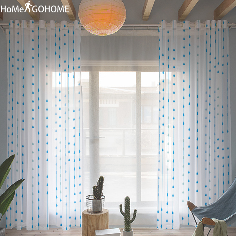 Funny Water Droplets Print 3D Tulle Curtains for Living Room Bedroom Windows Decoration Sheer Voile Curtain Blue Kitchen Kurtyna