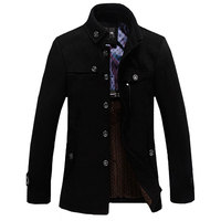 Free Shipping 2014 Casual Long Section Of The Stand Up Collar Men S Windbreaker Jacket Thickened