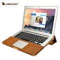 Jisoncase caso tampa do suporte de couro pu para macbook air pro retina 11 12 13 15 polegada de Manga de Luxo Lazer Laptop Bags & casos