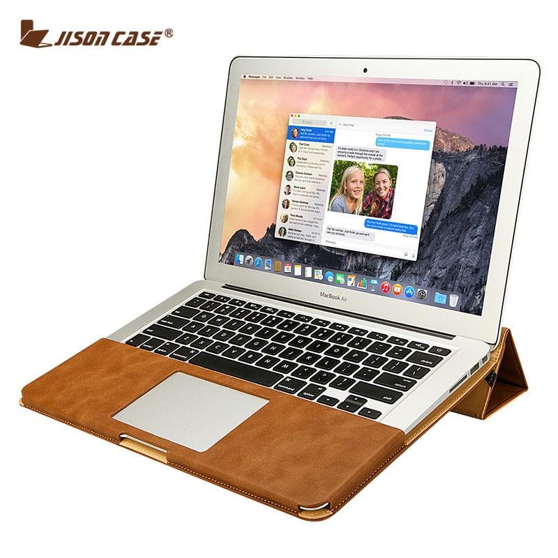 Conception innovante e7af6 ba20c € 37.87 25% de réduction|Jisoncase étui socle en cuir pour MacBook Air Pro  Retina 11 12 13 15 pouces étui Folio manchon luxe sacs pour ordinateur ...