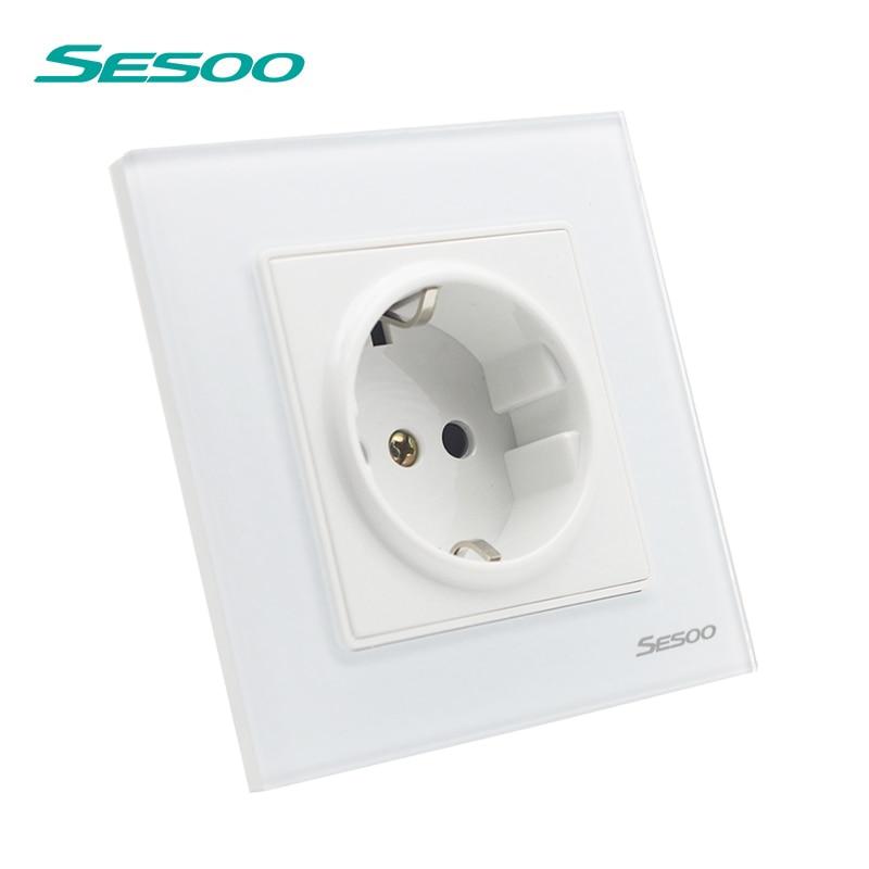 EU Standard Wall Sockets Crystal Glass Panel Plug Grounded 16A, 110V~250V, 86mm * 86mm Power Socket