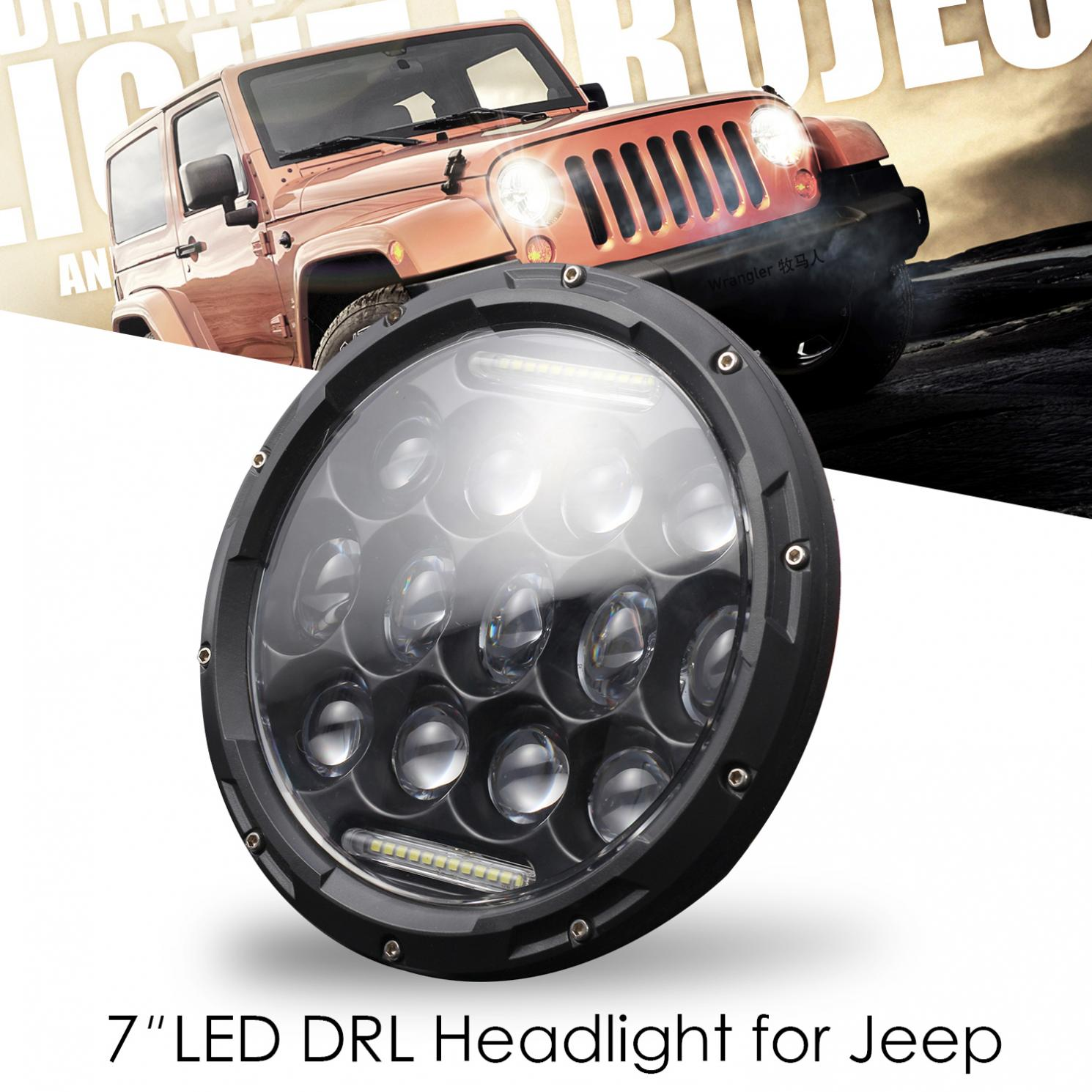 7 Inch 300W Waterproof LED Car Headlight Daytime Running Light High Low Beam Turn Sighal DRL Lamp for Jeep Wrangler