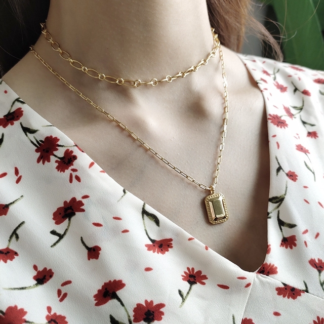 LouLeur 925 sterling silver Square Mirror necklace gold glossy elegant texture pendant necklace for women fashionable jewelry