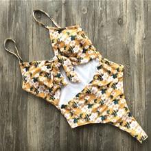 Floral One Piece Bandage Swimwear