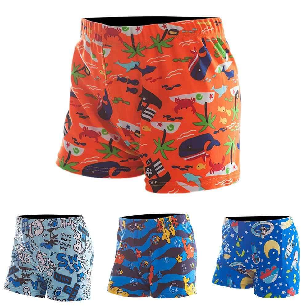 1a01f4036a ... New Children's Cartoon Print Swimming Shorts Boys Fashion Loose Elastic  Waist Mid Pants Kids Quick-
