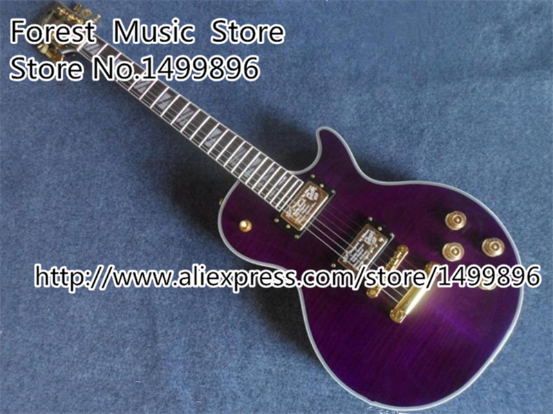 Free Shipping Musical Instrument Purple Tiger Grain Guitars Body China LP Supreme Electric Guitarra Custom Lefty Available custom shop chinese musical instrument golden finish lp electric guitar kits lefty custom available