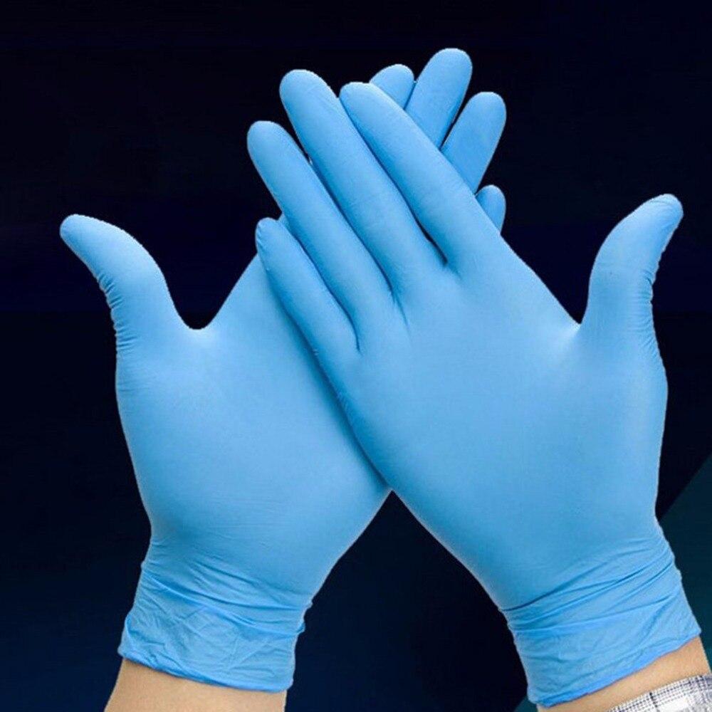 100 unids/caja azul nitrilo desechables desgaste resistencia química laboratorio electrónica alimentos prueba médica guantes de trabajo