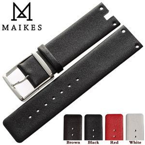 Image 4 - Maikes 새로운 도착 정품 가죽 시계 밴드 스트랩 블랙 화이트 소프트 내구성 시계 밴드 케이스 ck calvin klein k94231