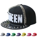 Adult Hiphop Street Dancing Baseball Hats Acrylic Board Spike Studs Rivet Peak Cap Punk Rock QUEEN Snapback Caps