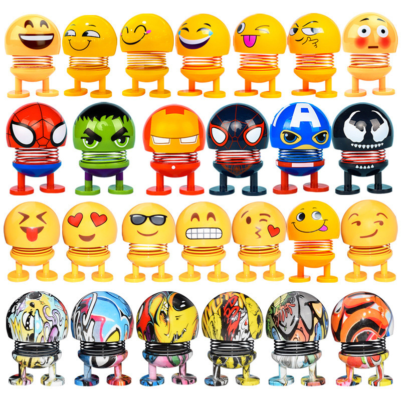 Meme Marvel Figure Avengers Endgame Iron Man Emoji Action Figures Swing Spring Shaking Head Dolls Bobblehead Car Accessories mini lego avengers endgame