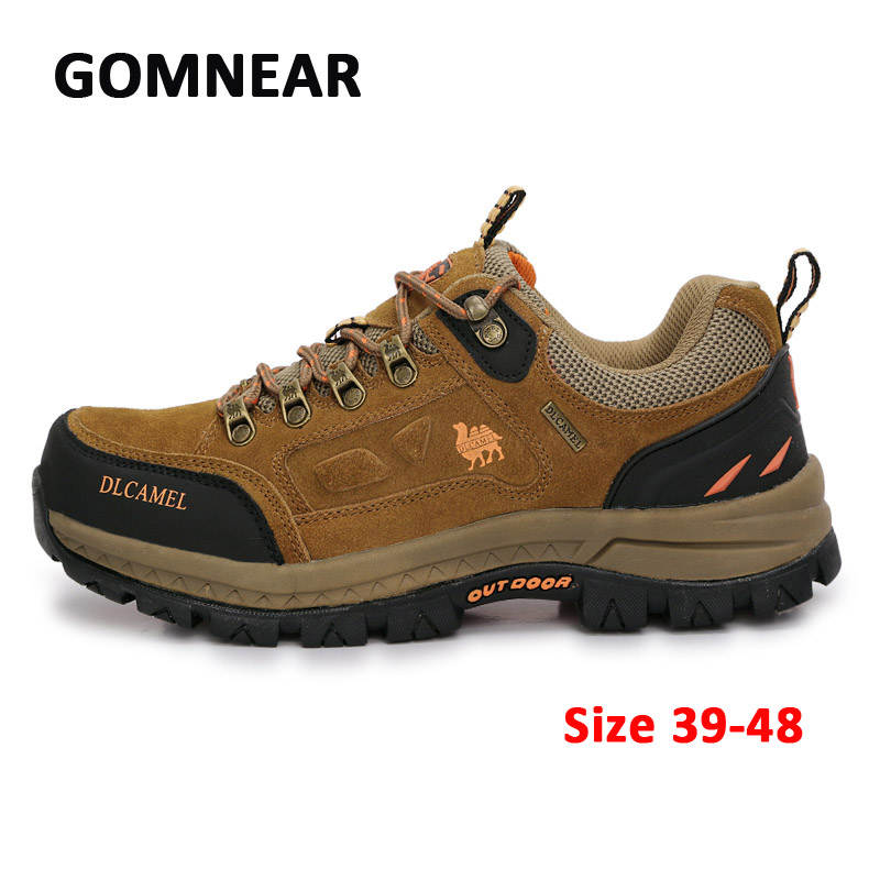 ФОТО GOMNEAR New Big Size Outdoor Hiking Shoes Men's Mountain Climbing Sports Shoes Camel Trekking Sneakers Soft Breathable Boots
