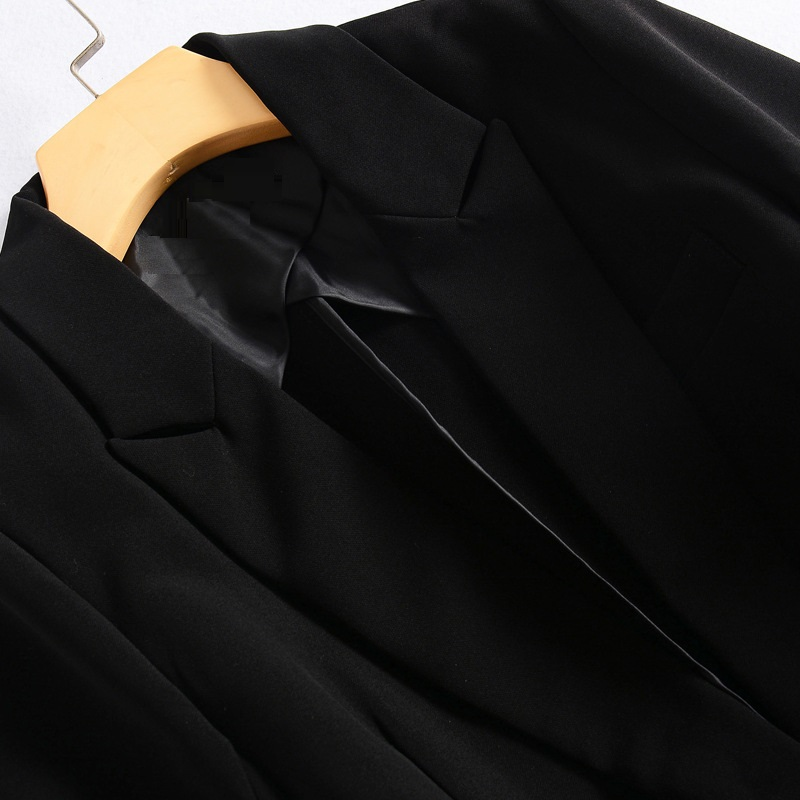 Dot Patchwork Blazer Ceinture Automne Trimestre Dames Mode Polka Manches De Veste Manteau Trois Long Femmes Blazers 2018 Noir U8TYgdqT
