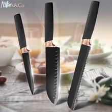 купить Kitchen Knife 8 7 5 inch Chef Bread Utility 5CR15 440C High Carbon Stainless Steel Non Stick Black Blade Santoku Knives Cook Set по цене 395.32 рублей