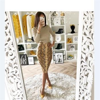 2019 Fashion Sexy Snake Print Midi Pencil Skirt Women High Elastic Waist Office Lady Bodycon Knee Length Skirts Saias Faldas Muj 4