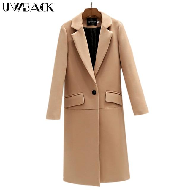 Uwback 2017 Spring Brand Trench Coat Women Long Straight Cloak Femme Casual Windbreaker Wool Coats Mujer Plus Size 2XL OB308