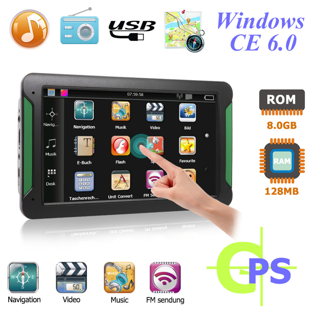 7 Inch  Car GPS Navigator FM Transmitter Suppor Car GPS Navigator 2018 Latest MAP MP3/MP4 Players Mstar 800MHZ 8GB