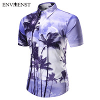 Men's Shirt 2017 New Men Shirt Fashion Casual Shirt Summer Style Cotton Short Sleeve 3D Coconut Tree Printed Shirt