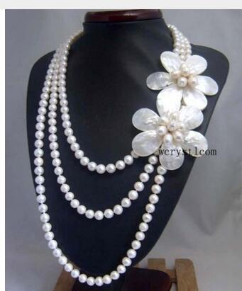 Women Gift word 925 Sterling silver real Natural White Pearl Shell Floral Flower Petal multilayer Strand Stacked Necklace