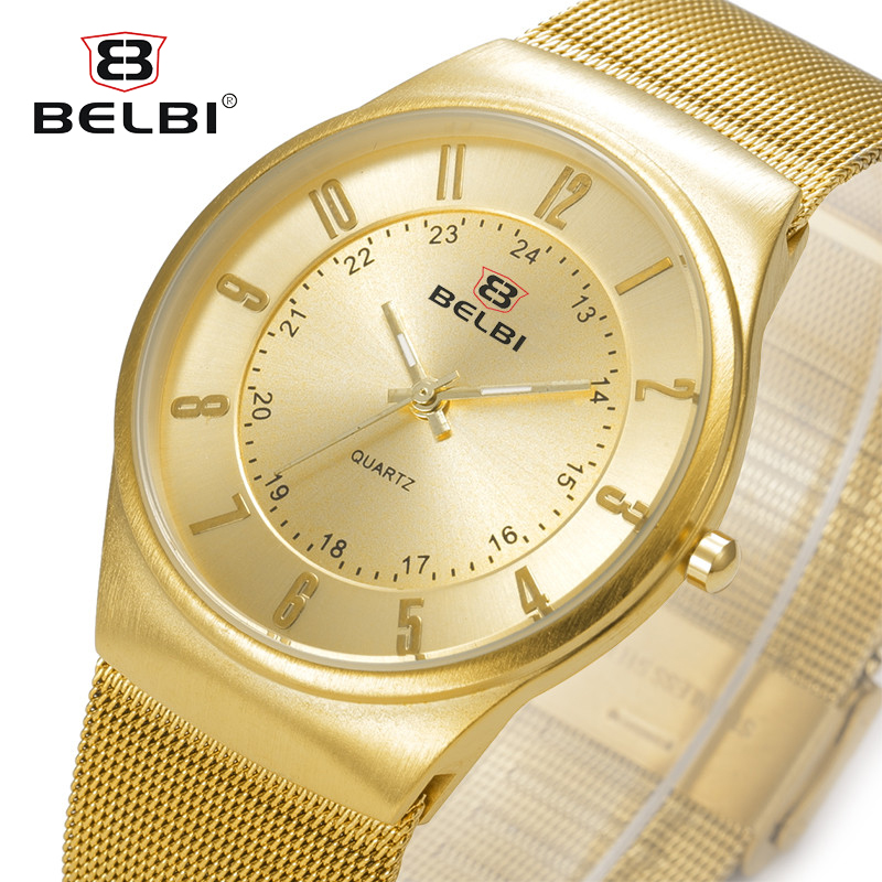 BELBI Hodinky Men Business Watches Luxury Simple Digital Dial Male Watch Waterproof Quartz Brand Steel Band Relogio Masculino
