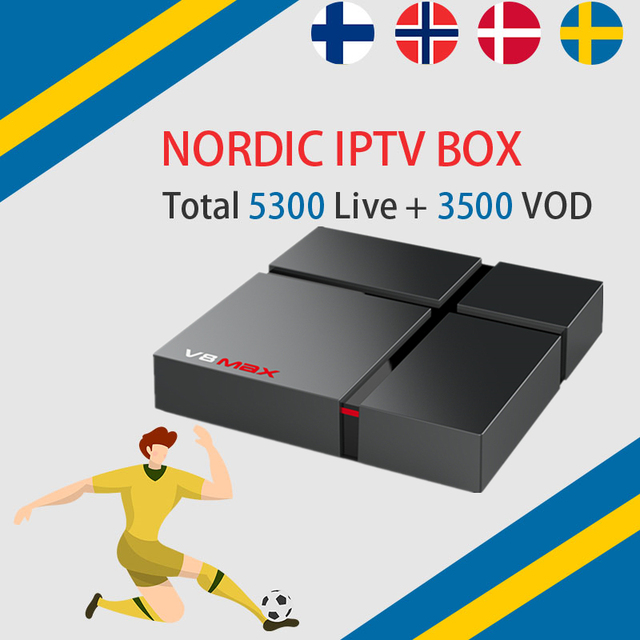 Best Nordic Scandinavia wechip v8 IPTV Android 8.1 TV Box Amlogic S912  Sweden Norway Denmark Israel IPTV  4G 32G smart tv box