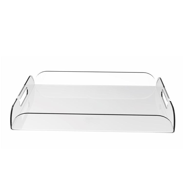 Clear Acrylic Breakfast Serving Tray With Handles Multipurpose Decorative Plexigl Wine Gles