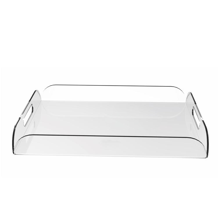 Clear Acrylic Breakfast Serving Tray With Handles Multipurpose Decorative Plexiglass Wine Glasses Tray
