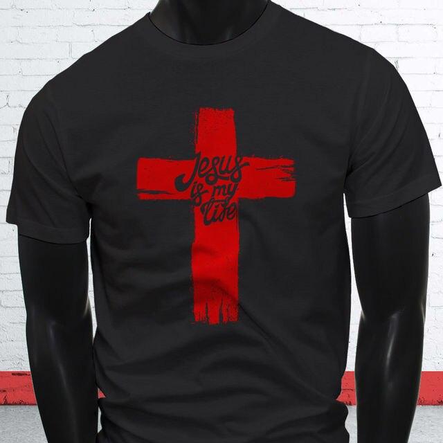 8e8d2f25efc96 Crear camiseta en línea Oficina Jesús es mi vida Cruz fe cristiana amor  Biblia mens negro