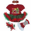 4 pcs Conjuntos de Roupas de bebê Menina Infantil Vestido jumpersuit Romper Natal + meias + banda + sapatos Bebe Natal Aniversário trajes Vestidos