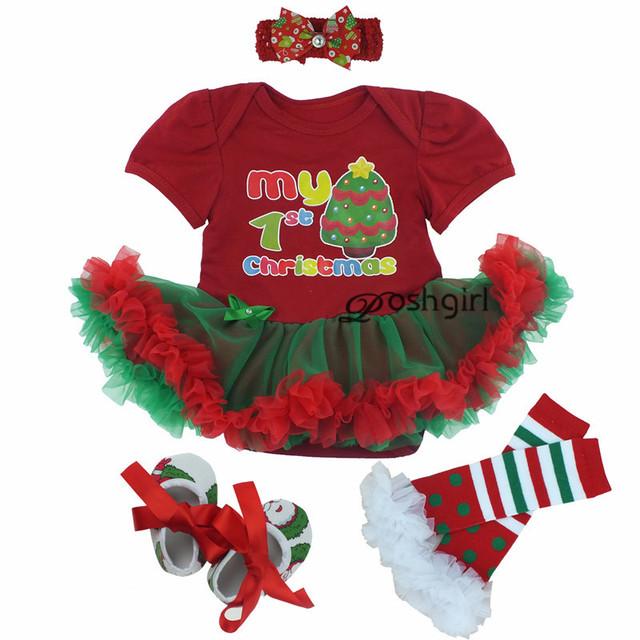Bebé Infantil 4 unids Ropa Establece Navidad Vestido jumpersuit Mameluco + calcetines + venda + zapatos de Bebe de Navidad de Cumpleaños trajes Vestidos