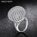 Mecresh Elegant Full Paved CZ Ring White Gold Plated Cubic Zirconia Ball Shaped Cocktail Rings Fashion Jewelry for Women JZ020