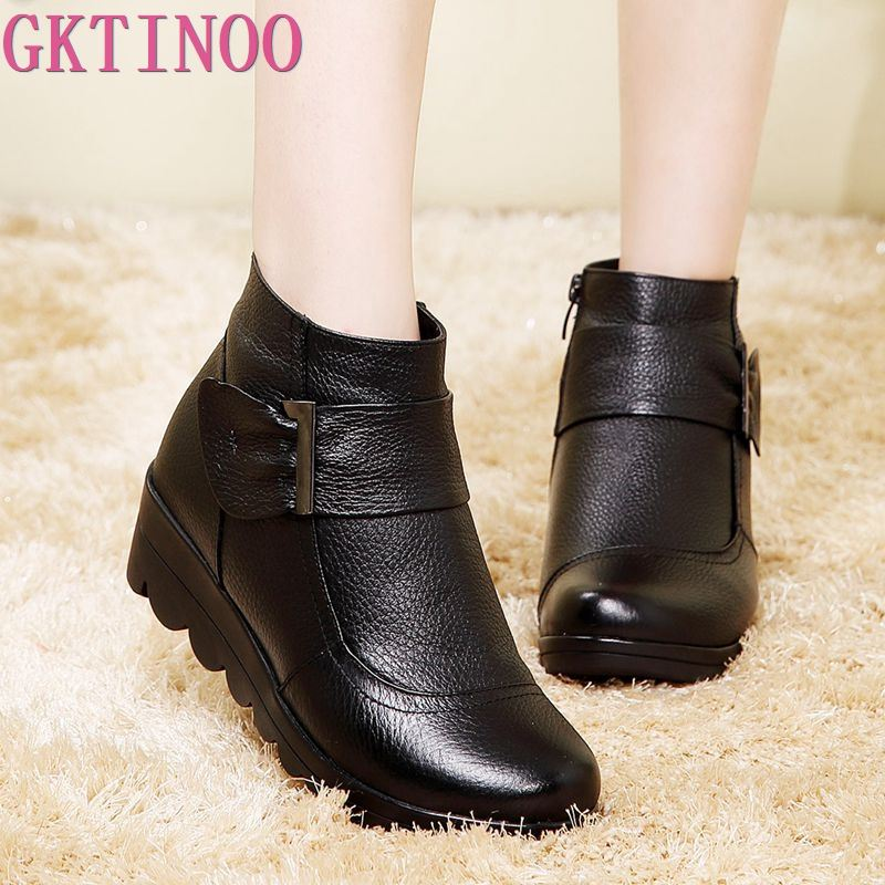 GKTINOO 2019 Snow Boots Shoes Women Genuine Leather Large Yard Winter Boots Women Boots Warm Plush Winter Shoes Big Size 35-41