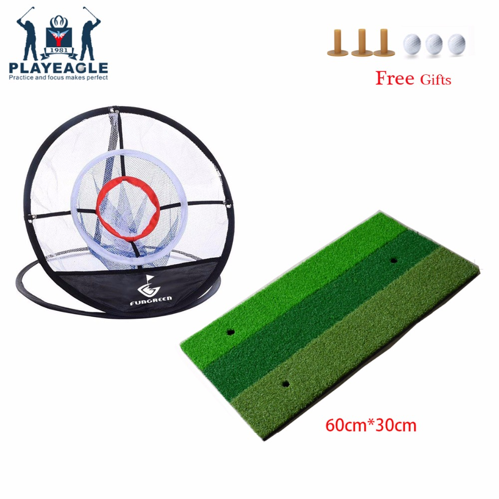 FUNGREEN Backyard Golf Chipping Mat And Net 60*30cm Indoor Training Hitting Pad Golf Mar With Rubber Tee Golf Ball Homeuse Mat