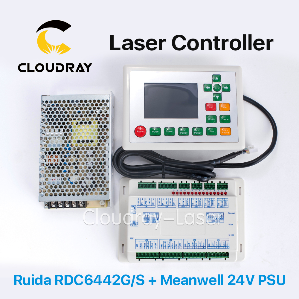 Cloudray Ruida RDC6442G DSP Controller  + Meanwell 24V 3.2A 75W Switching Power Supply for Co2 Laser Engraving Cutting Machine rd 6442 laser controller main board for co2 laser engraving machine