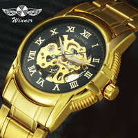 2016 WINNER Women Automatic Mechanical Watch Ladies Wristwatches Golden Stainless Steel Watchband Skeleton Dial Female Gift