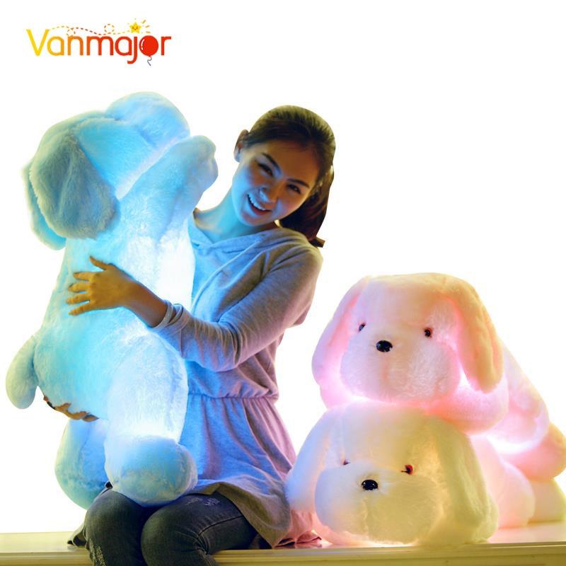 1 UNIDS 50 CM / 75 CM de Longitud Noche de Luz Creativa LED Encantador Perro de Peluche y Juguetes de Felpa Mejores Regalos para Niños y Amigos