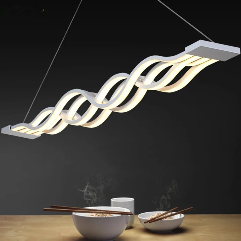 Nordic Modern Pendant Lights Art LED White Acrylic Wave Shape Hanging Lamp For Restaurant Livingroom Home Deco Office Lighting