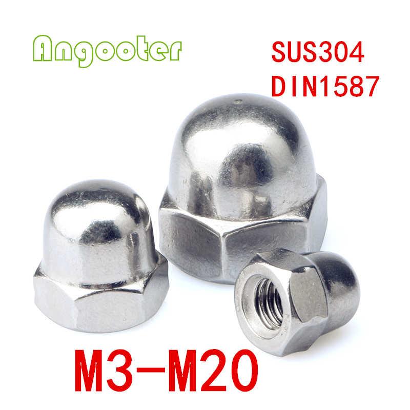 100 ピース/ロット DIN1587 M3 M4 M5 M6 M8 M10 メトリックねじステンレス鋼キャップナット/六角ナット/どんぐりナッツ