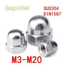 100Pcs/lot DIN1587 M3 M4 M5 M6 M8 M10 Metric thread stainless steel cap nuts /hex nut/acorn nuts(China)