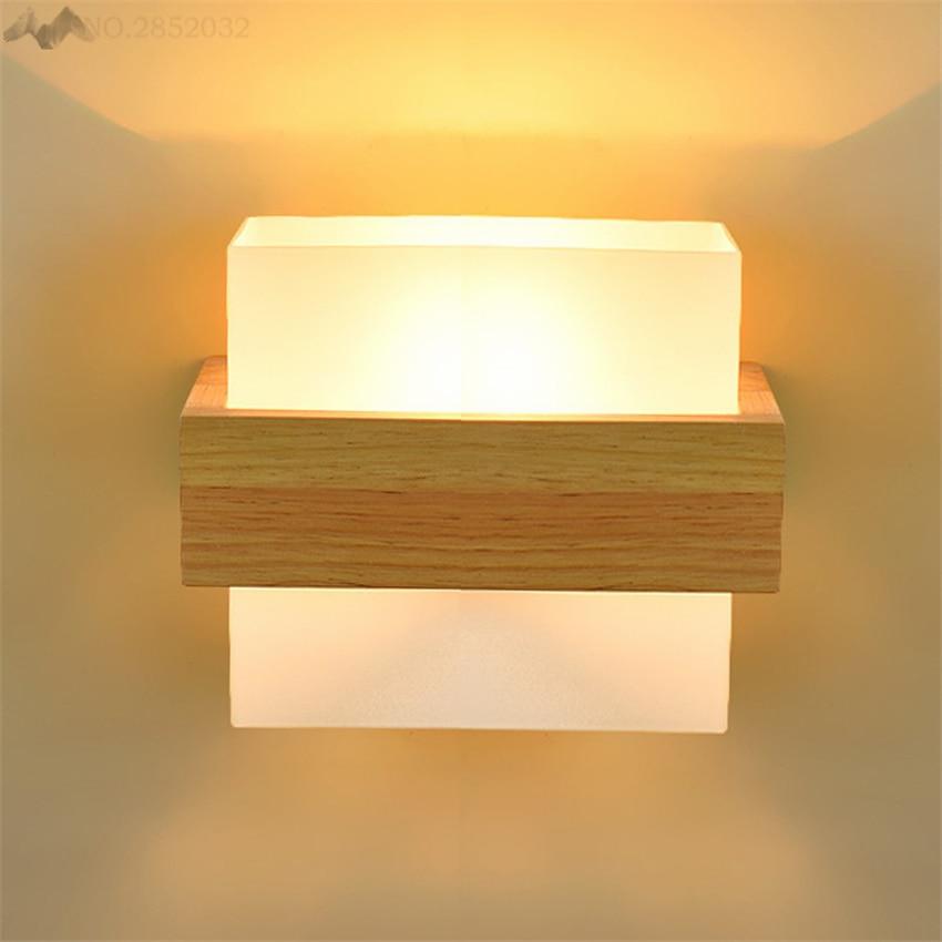 Modern Art Natural Wood Wall Lamp Glass Lamp Shade Wall