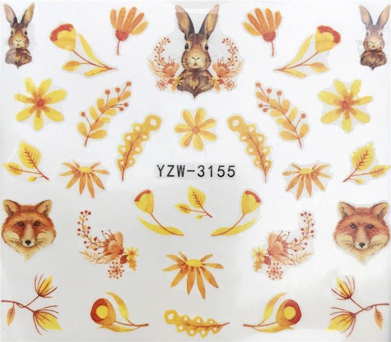 LCJ 1 шт стикер для ногтей с водной наклейкой животное цветок растение шаблон 3D Маникюр Стикер дизайн ногтей украшение