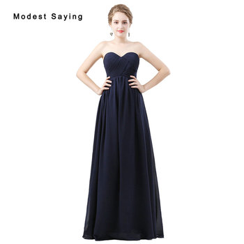 Elegant Navy Blue A-Line Sweetheart Pleated Bridesmaid Dresses 2018 Girls Floor-Length Chiffon Maid of Honor Party Prom Gowns