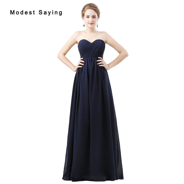 Elegant Navy Blue A-Line Sweetheart Pleated Bridesmaid Dresses 2018 Girls  Floor-Length Chiffon Maid of Honor Party Prom Gowns 6e2892778e9d