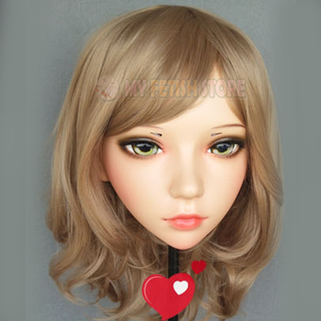 ling-03 Design; Delicious In female Sweet Girl Resin Half Head Kigurumi Mask With Bjd Eyes Cosplay Japanese Anime Role Lolita Mask Crossdress Doll Novel