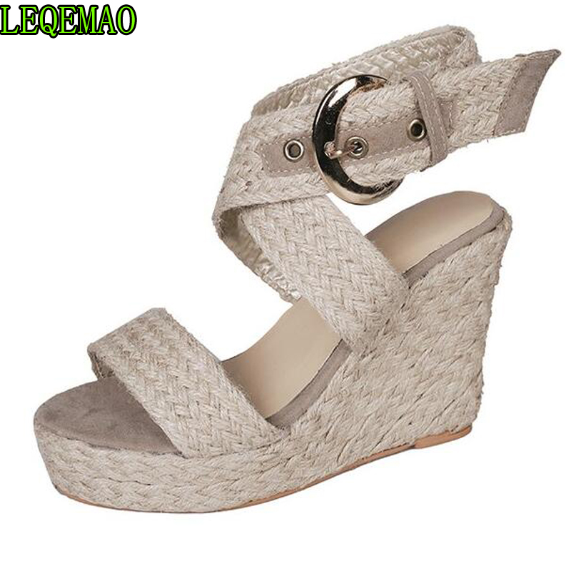 2019 femmes sandale décontracté grande taille boucle sandales à talons compensés chaussures romaines d'été femmes chaussures