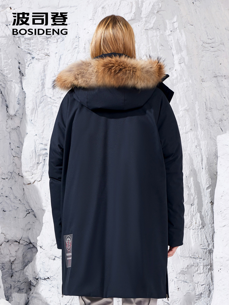 BOSIDENG อิตาเลี่ยน designer คอลเลกชันฤดูหนาว thicken outwear ผู้หญิงกลางยาวธรรมชาติขนห่านหลวม B80142160S-ใน เสื้อโค้ทดาวน์ จาก เสื้อผ้าสตรี บน   3