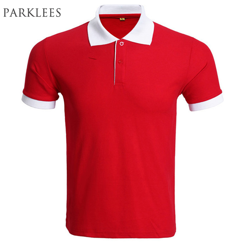 Brand Red   Polo   Shirt Men   Polo   Homme 2016 Summer Fashion Short Sleeve Slim   Polo   Shirts Casual Solid Color Mens   Polos   Plus Xxxl