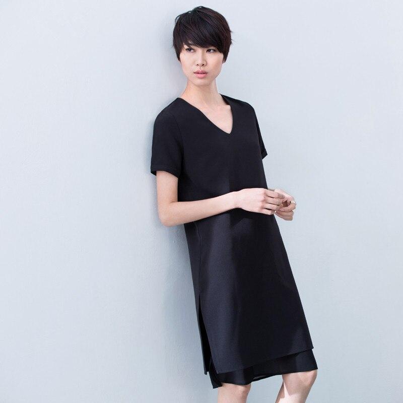 Personnaliser été minimaliste col en v manches courtes double couche ourlet en mousseline de soie robe femme robe longue dames grande taille robes