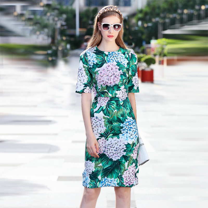2017 High Quality Summer Fashion Leaves Print Slim Dress European Pretty Short Sleeve O_neck Knee Length Cute Dress