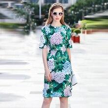 ФОТО 2017 high quality summer fashion leaves print slim dress european pretty short sleeve o_neck knee length cute dress